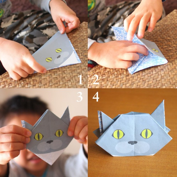 If 5 year-old can do it, so can you! Enjoy Origami with your kids.5歳の子でも上手に折れました!子どもと一緒に猫を折ってみようhttp://catchy-boutique.com/#originalproduct #paperart #origamicat #papercat #paperfolding#catchyboutique
