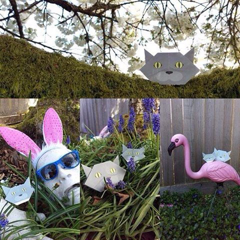 """Easter adventure with Melody the Catchy Cat Origami from Seattle, WA (USA)猫おりがみもイースターに参加してます〜♪ ️Check out """"Catchy-boutique"""" in our URL.#cat #neko #catsofinstagram #origami #cat2see#catlovers#cat_features#catworldwide#excellent_cats#catstagram#nyanstagram#lovemeow#ig_catclub#World_kawaii_cat#instacat_meows#TopCatPhoto#igbest_cats#cutepetclub#igcutest_animals#topcatoftheday#cats_of_world #shopify#easter #easterbunny #zombie #happyeaster"""