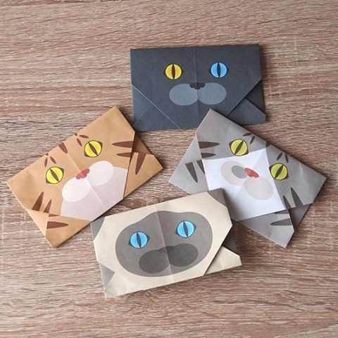 "You can put a message and even your business card! Be creative and have fun!猫顔の封筒を作っても可愛い♪ ️Check out ""Catchy-boutique"" in our URL.#折り紙 #cat #neko #ねこ #ネコ #origami"