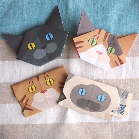 """A new DIY idea with Catchy Cat Origami, a mini gift bag!What's your idea?折り紙で作るかわいいぽち袋♪:☞Check out """"Catchy-boutique"""" in our URL☞Follow: @catchyboutique☞tag: #catchy222 toshare your photo with catchy goods:#origami #折り紙 #cat #neko #ねこ #ネコ"""