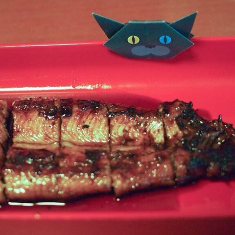 """Unagi, Japanese grilled eel... Eel is often consumed during the midsummer to prevent summer fatigue in Japan.Get ready for the summer!:うなぎ美味しそう〜♪今日は土曜丑の日だね!:☞Check out """"Catchy-boutique"""" in our URL☞Follow: @catchyboutique☞tag: #catchy222 toshare your photo with catchy goods:#origami #折り紙 #cat #neko #ねこ #unagi"""
